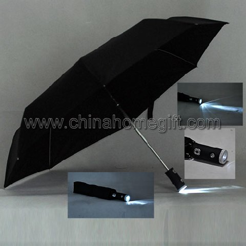 auto open & close three folding torch umbrella