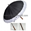 24K Manual Open Wooden straight Umbrella